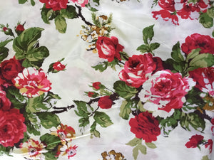 Vintage Floral  Fabric in Reds