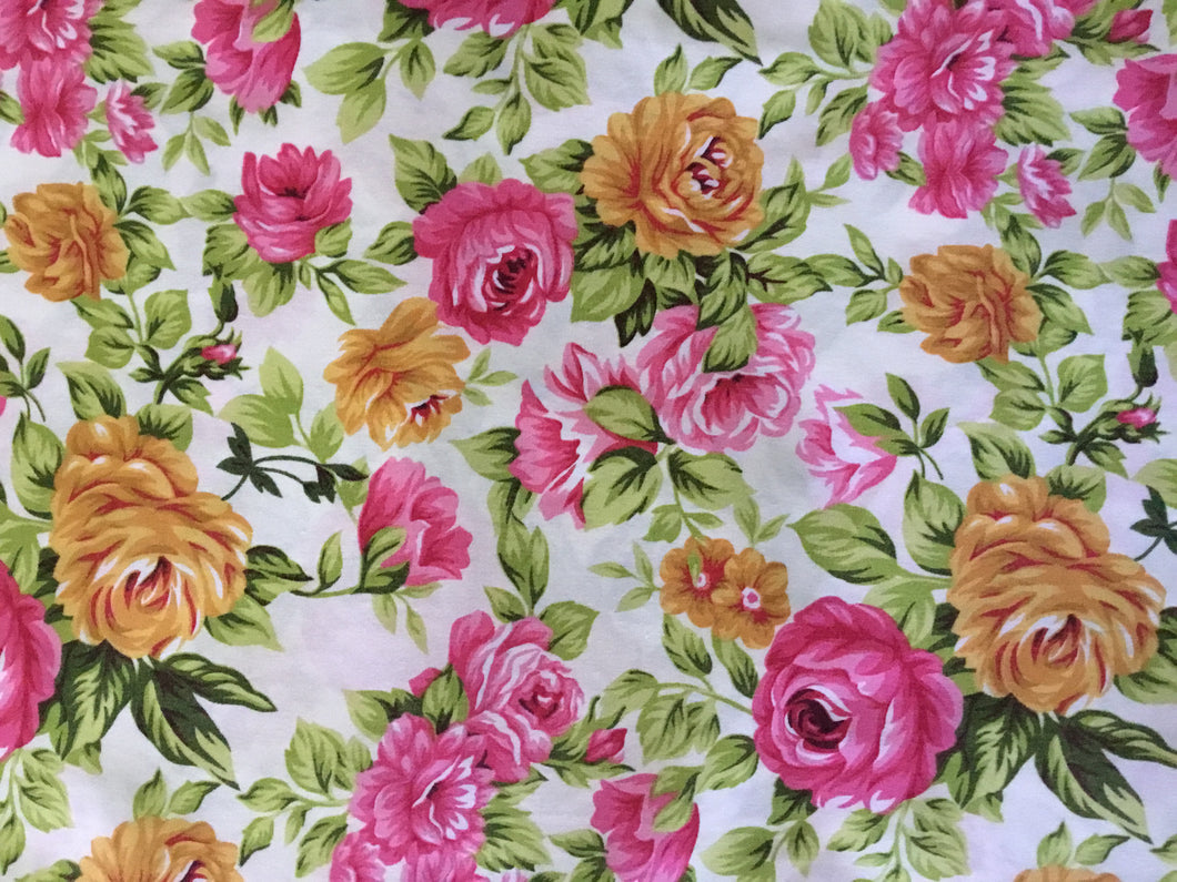 Vintage Floral Fabric in Golds & Pinks