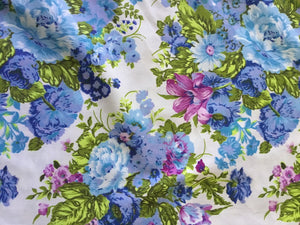 Vintage Floral Fabric in Blue Tones