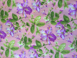 Vintage Floral Peach, lilac & green Fabric