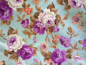 Vintage Floral Fabric in Purple & Orange on Mint