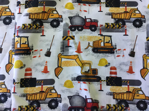Truck & Digger Cotton Fabric