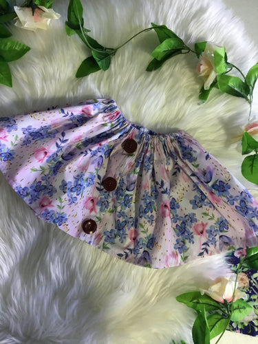 Hanfmade Girls Floral Skirt