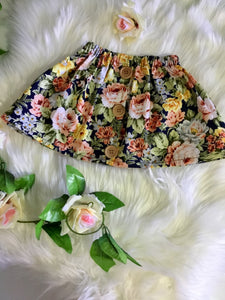 Navy& Gold Tones Floral Skirt