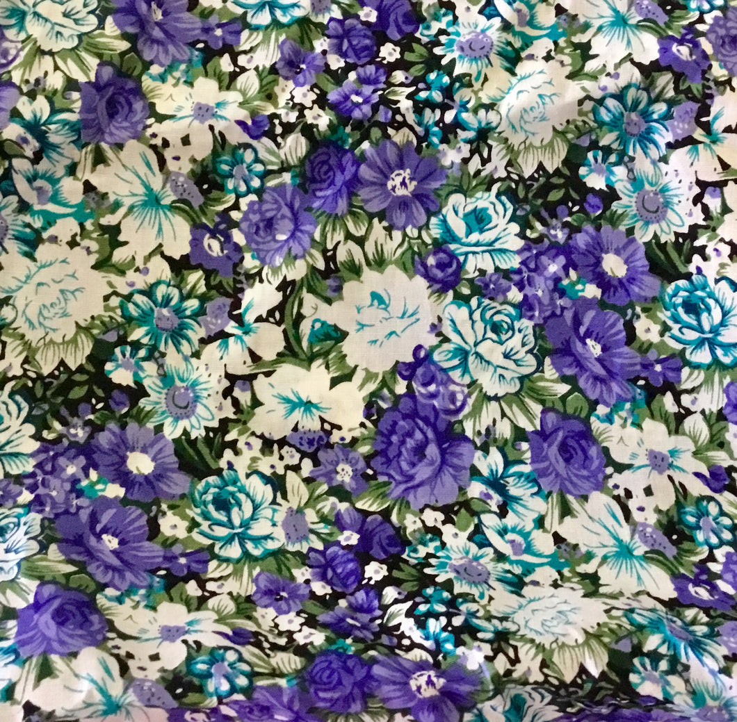 Cotton Fabric in Shades of Blue Florals