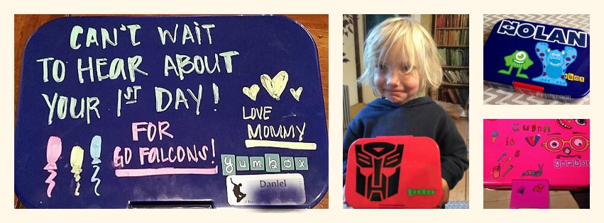 "/></a></figure> <!-- /wp:image --> <!-- wp:paragraph --> <p>Fun ways to decorate and label your Yumbox</p> <!-- /wp:paragraph --> <!-- wp:paragraph --> <p>Kids love to personalize their belongings. It gives them an opportunity to share all of their favorite colors, characters, sports teams and talents with their friends. They take what they already like (lunchbox, backpack, notebook) and apply their own sense of fun and style to it. The perfect object for this display of ""me"" is a lunchbox. It comes out everyday in the cafeteria where they can share it with their friends in a social environment.</p> <!-- /wp:paragraph --> <!-- wp:paragraph --> <p>There are a lot of creative parents out there that have submitted fabulous original designs and ideas for customizing your child's lunchbox. We thought we'd share their ideas and ours for decorating your Yumbox.</p> <!-- /wp:paragraph --> <!-- wp:image {"