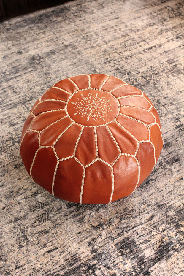 Traditional Moroccan Leather Pouf 1