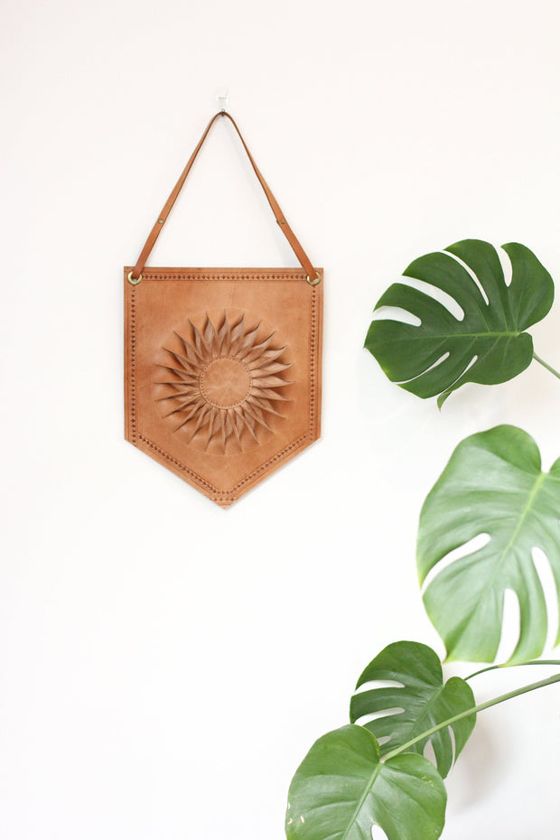 Moroccan Leather Wall Hanging Sun Banner 1