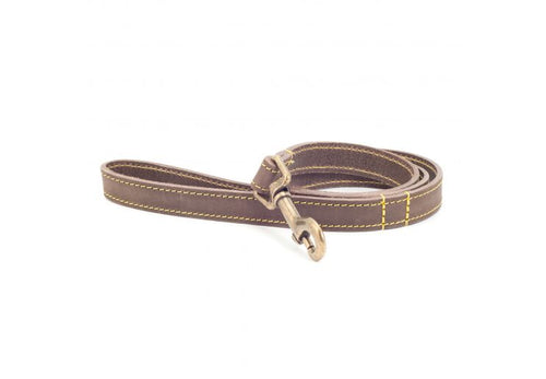 Timberwolf Leather Lead. - Riva Pet Products