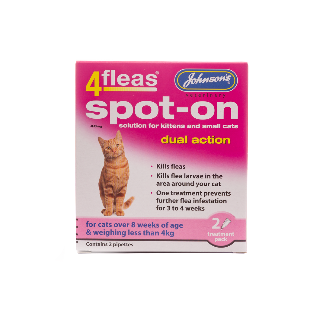 4fleas Spot-on for Cats & Kittens up to 4kg. - Riva Pet Products