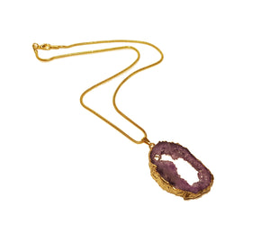 Karatgold Amethyst pendant with genuine diamond and high quality snake chain, made in Germany, Pforzheim