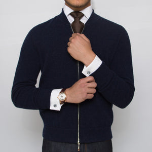 DARIO'S blue cardigan white shirts brown tie silver dicf cufflinks