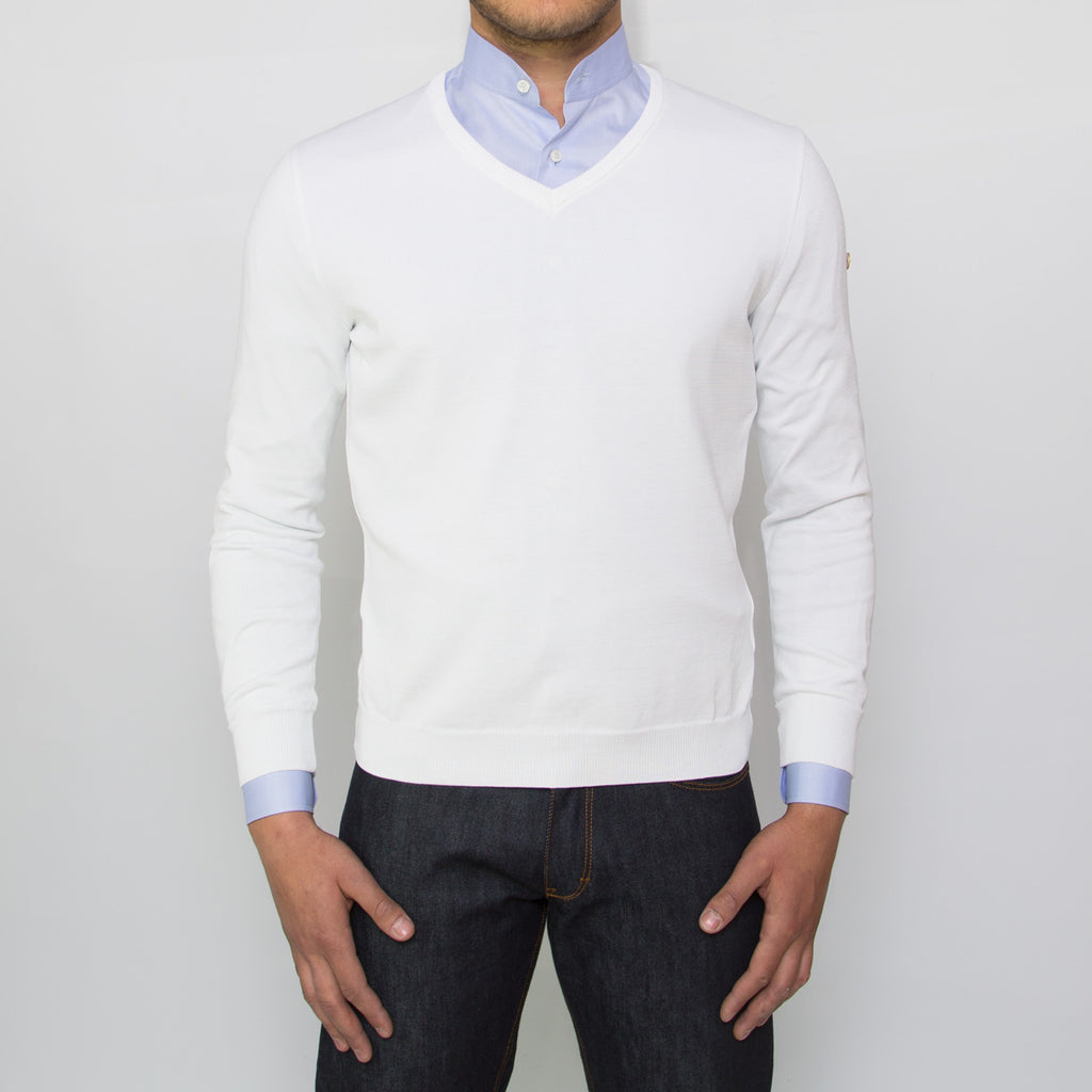 DARIO'S Couture V-Neck Pullover Buxtehude 100% Sea Island Cotton in Weiß