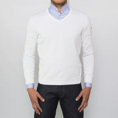 DARIO'S Couture V-Neck Sweater Buxtehude 100% Sea Island Cotton in White