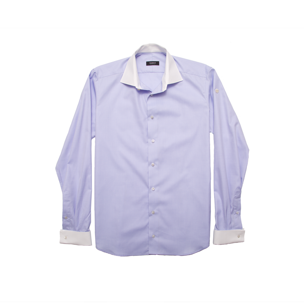 DARIO'S Couture Men's Shirt Lübeck Mixed Cuff 140/2 in White/Lightblue