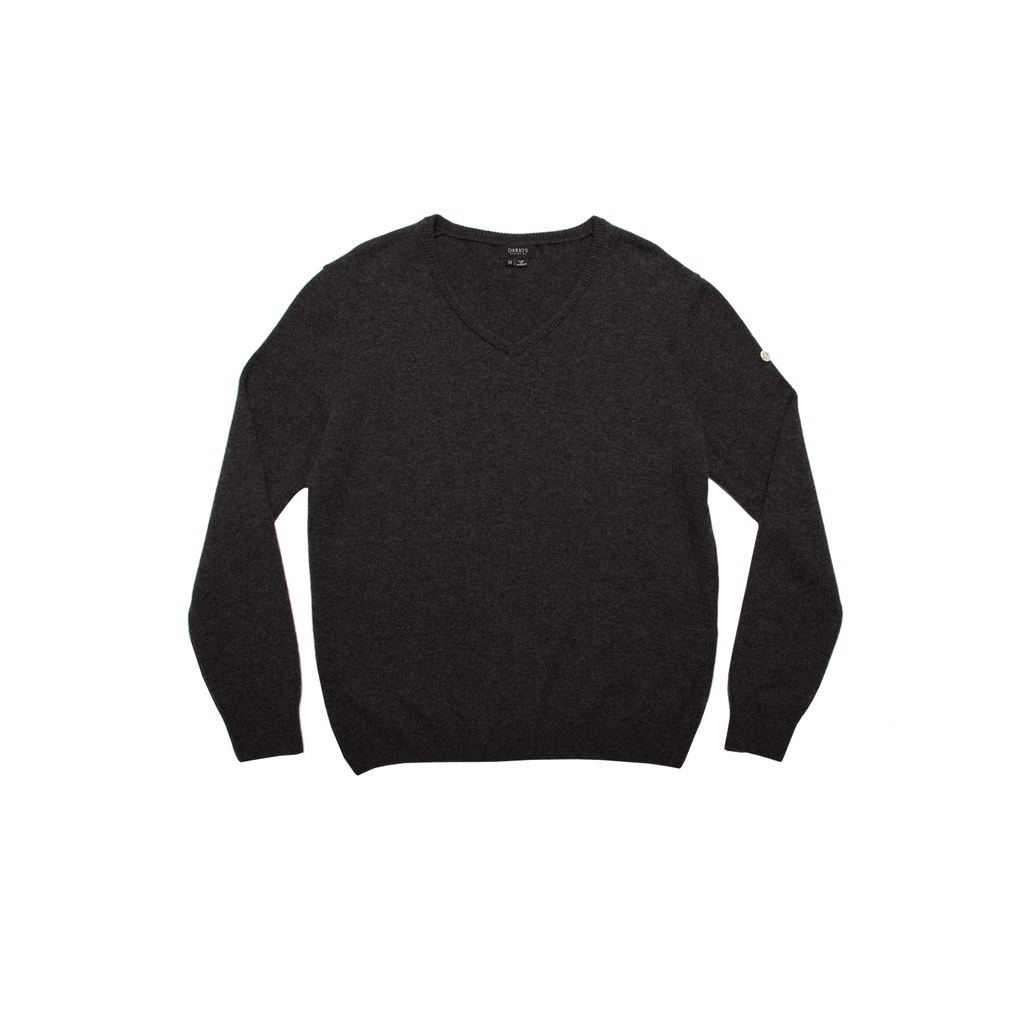 DARIO'S Couture V-Neck Sweater Köln 100% Cashmere in Darkgrey