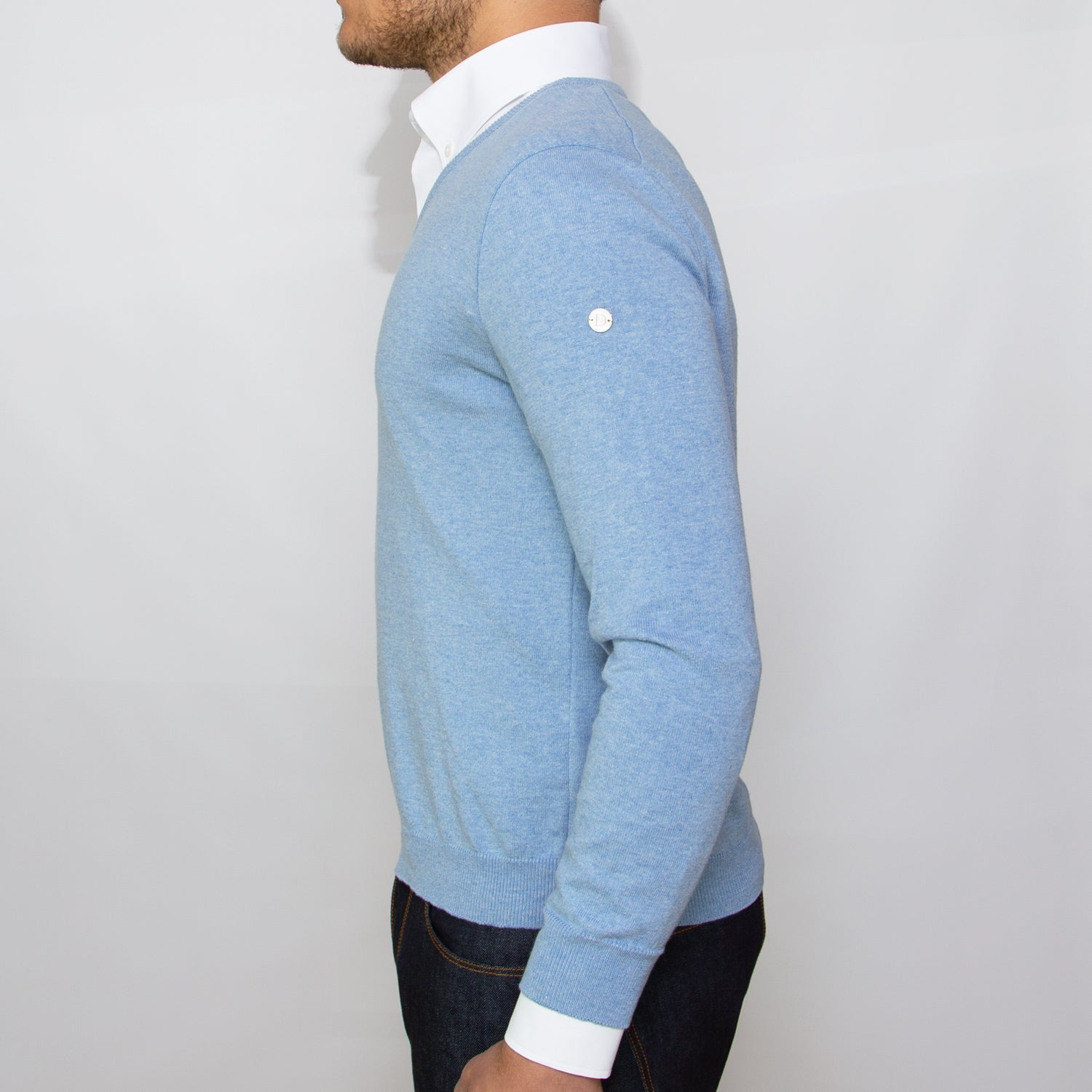 DARIO'S Couture V-Neck Pullover Köln 100% African Cotton in Hellblau