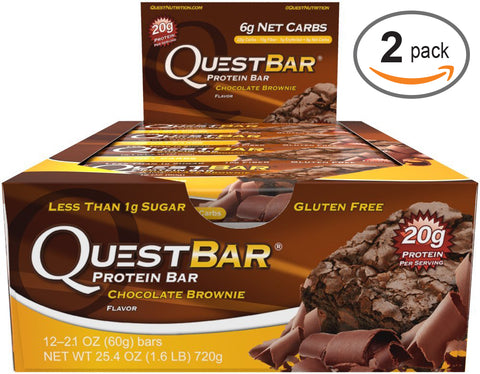 Quest Nutrition Quest Protein Bar Chocolate Brownie 12-2.12 oz (60g) Bars 2 Pack