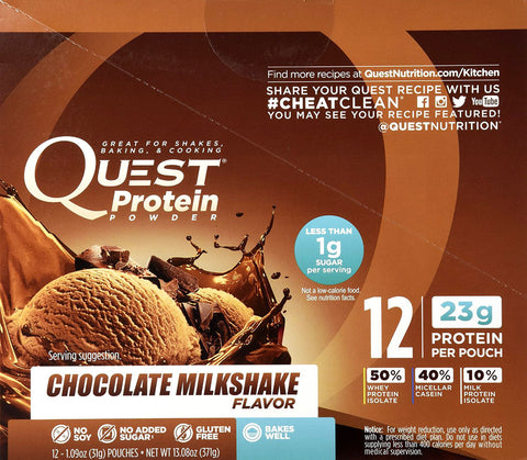 Quest Nutrition Quest Protein Powder Chocolate Milkshake 12 - 1.09oz Pouches