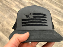 Load image into Gallery viewer, 'Merica Charcoal Mesh Trucker Black stitching