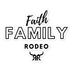 Faith Family Rodeo Black Bubble-free stickers