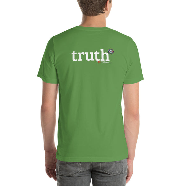 "Round Logo Front, ""truth"" Back Logo - darker options  (USA spelling)"