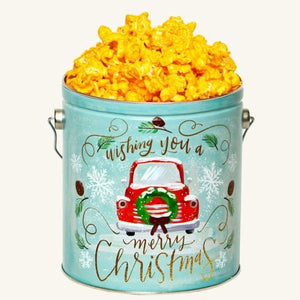 Johnson's Popcorn 1 Gallon Vintage Christmas Tin-Cheddar Cheese