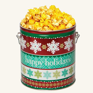 Johnson's Popcorn 1 Gallon Holiday Cheer Tin-Salty-n-Sandy