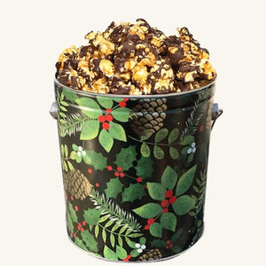 Johnson's Popcorn 1 Gallon Golden Pinecone Tin-Chocolate Drizzle