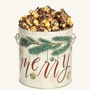 Johnson's Popcorn 1 Gallon Very Merry Tin-Chocolate Drizzle