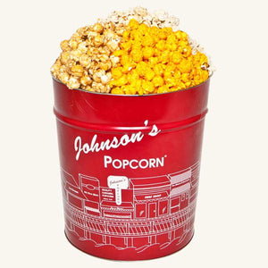 Tri Flavor 3.5 Gallon Johnson's Popcorn Tin-Caramel-Butter-Cheddar