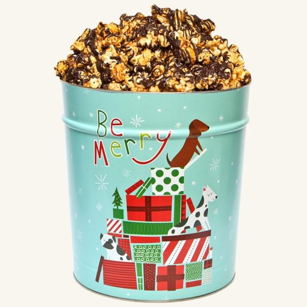 Johnson's Popcorn 3.5 Gallon Jingle Pups Tin-Chocolate Drizzle