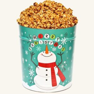 Johnson's Popcorn 3.5 Gallon Cheery Snowman Tin-Peanut Crunch