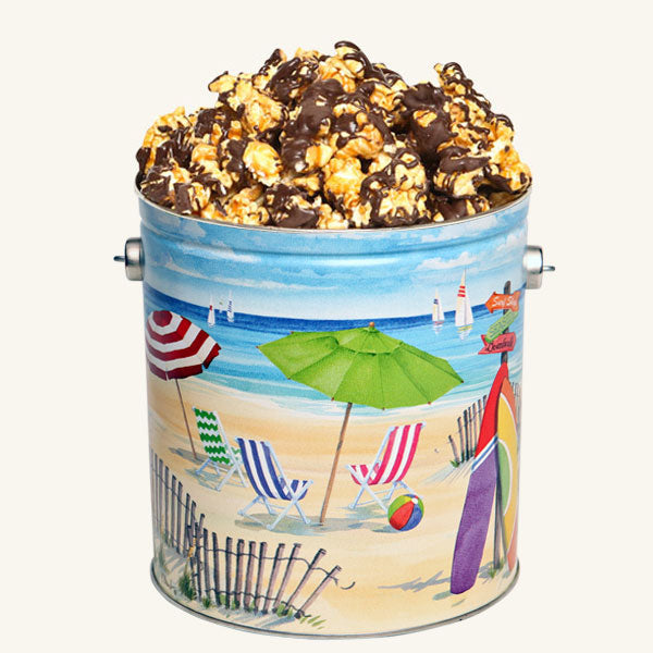 Johnson's Popcorn 1 Gallon Fun in the Sun Tin-Chocolate Drizzle