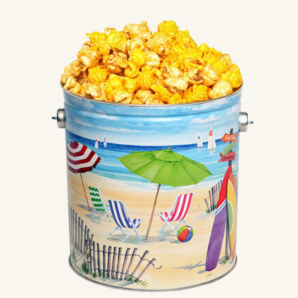 Johnson's Popcorn 1 Gallon Fun in the Sun Tin-Salty-n-Sandy