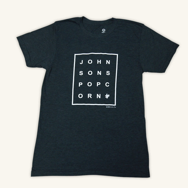 Johnson's Popcorn Gray Box Logo Tee Shirt