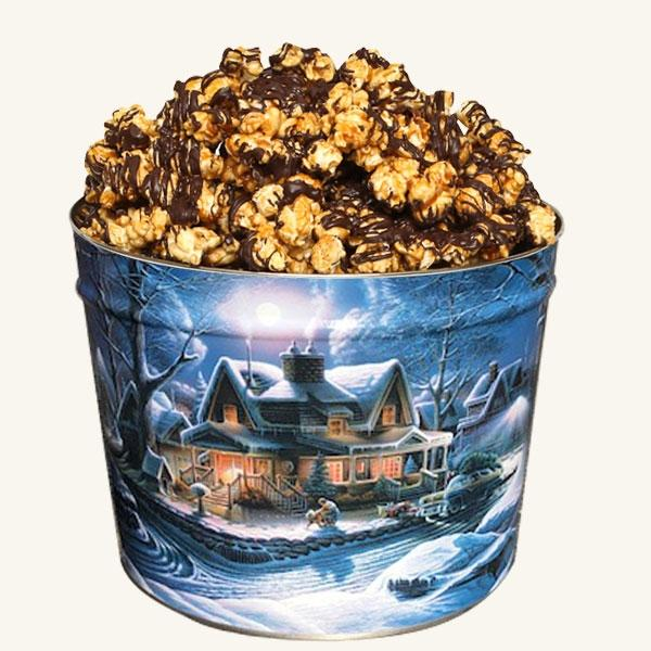 Johnson's 2 Gallon Popcorn First Homecoming Tin-Chocolate Drizzle