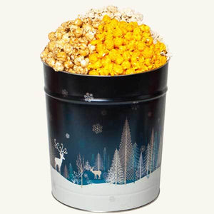 Tri Flavor 3.5 Gallon Crystal Evening Popcorn Tin-Caramel-Butter-Cheddar