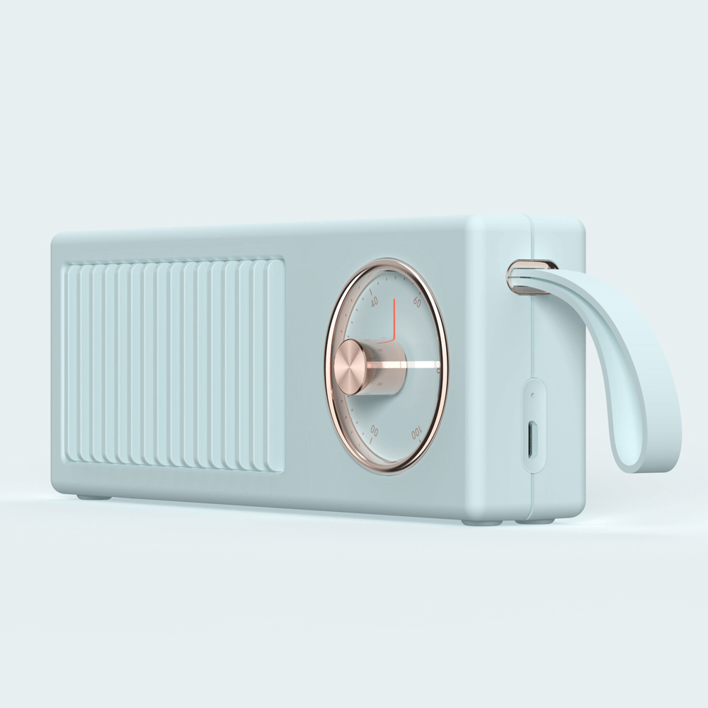 Parlante Portátil Inalámbrico Bluetooth Retro-Minimalista Blanco con Dorado - Enjoy it Market