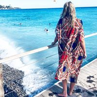 Load image into Gallery viewer, Beach kimono Red blue leopard