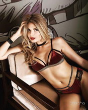 Load image into Gallery viewer, Velvet Lingerie Set Bordo