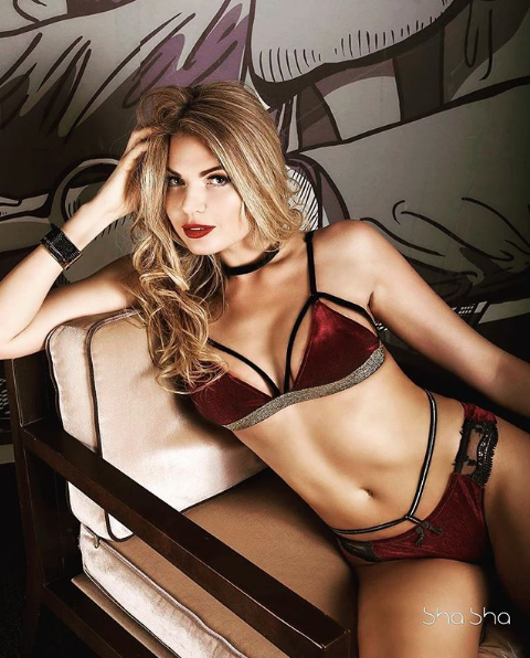 Velvet Lingerie Set Bordo