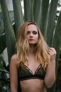 Lace bralette olive green