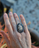 Dark Spring III - Snakeskin Ancient Fossil Ring - Spider and Bee Accent - Size 6.5-6.75