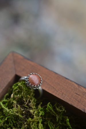 Exclusive VIP Holiday Shopping - Goldstone Gemstone Gallery Ring - Sterling Silver Classic Ring - Size 6.75 or Size 8