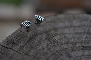 Halloween II - Sterling Silver Skeleton Hand Earrings