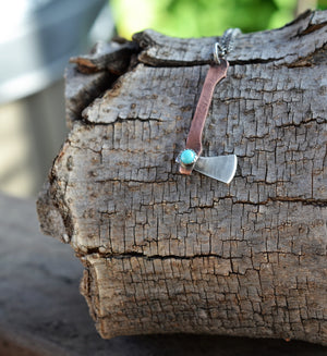 The Fancy Lizzie - Mini Axe Necklace - Turquoise