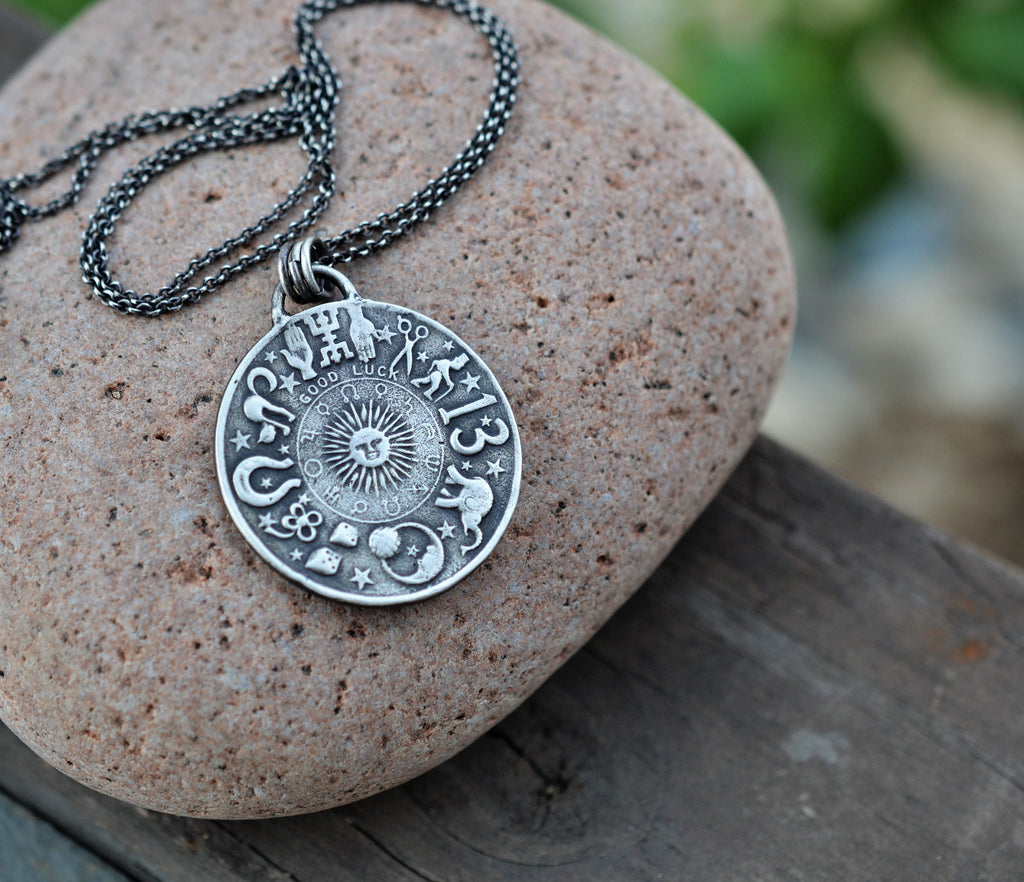 Zodiac Necklace. Double Sided Medallion.