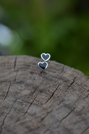 Black Onyx Heart Earrings - Sterling Silver