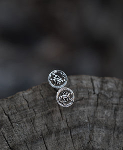 Zodiac Round Scorpion Studs - Sterling Silver